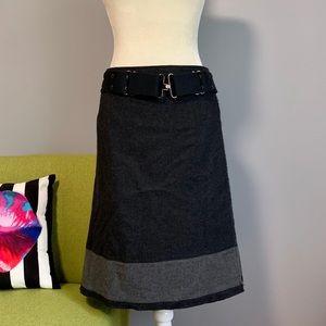 Prada Wool Blend Wrap A-Line Belted Skirt